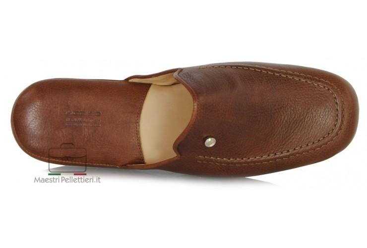 Pantofole uomo in pelle Toscana Vegetale Marrone