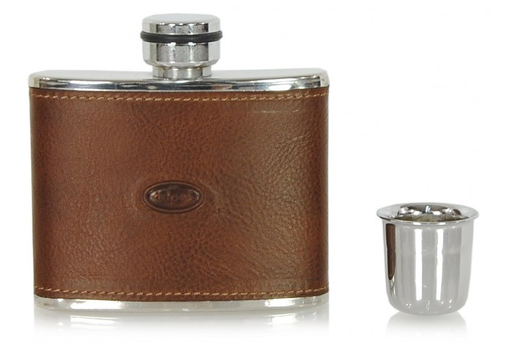 Leather liquor flask 4oz Brown