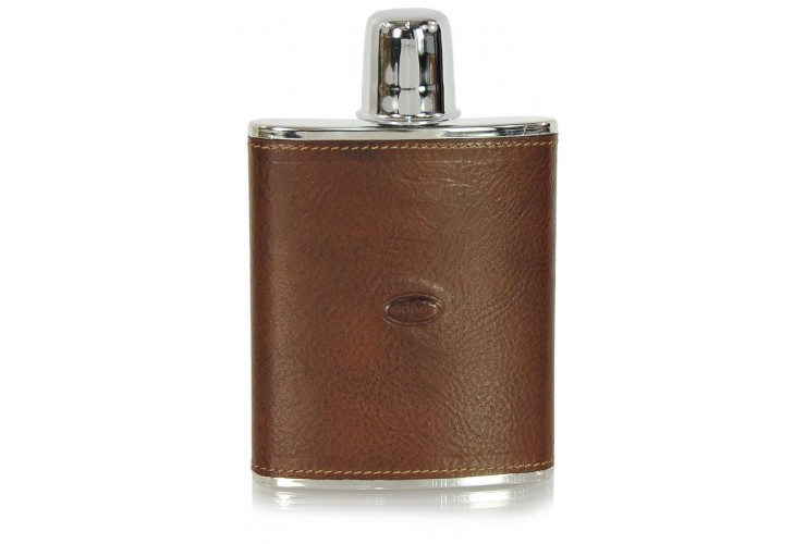 Leather liquor flask 6oz Brown