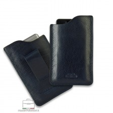 Mobile phone belt case in leather Blue