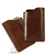Mobile phone belt case in leather Chestnut