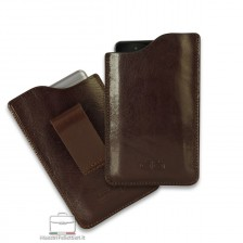 Mobile phone belt case in leather Brown/Moka