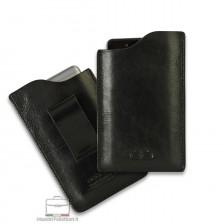 Mobile phone belt case in leather Black