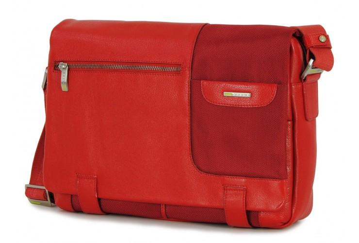 Borsa Messenger a tracolla 13'' tessuto e pelle Rosso
