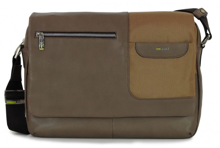 Satchel messenger multi pocket bag 13'' Gray/Taupe