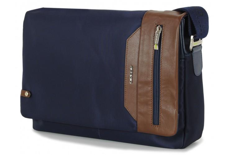 Borsa Messenger in tessuto e pelle morbida Blu/Marrone 13''
