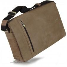 Messenger laptop bag 13'' Vintage effect leather Brown/Bark