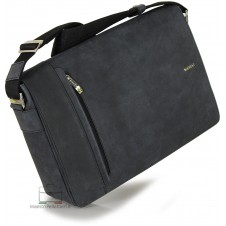 Messenger laptop bag 13'' Vintage effect leather Black