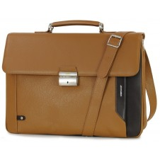Business leather bag 15'' in leather Brown