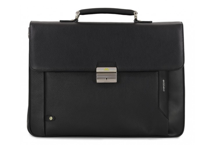 Business leather bag 15'' in leather Black
