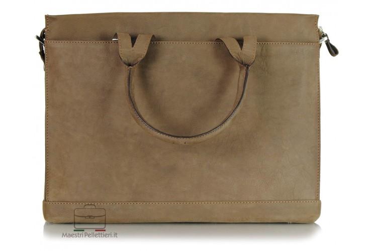Cartella porta documenti 15'' pelle vintage Marrone/Corteccia