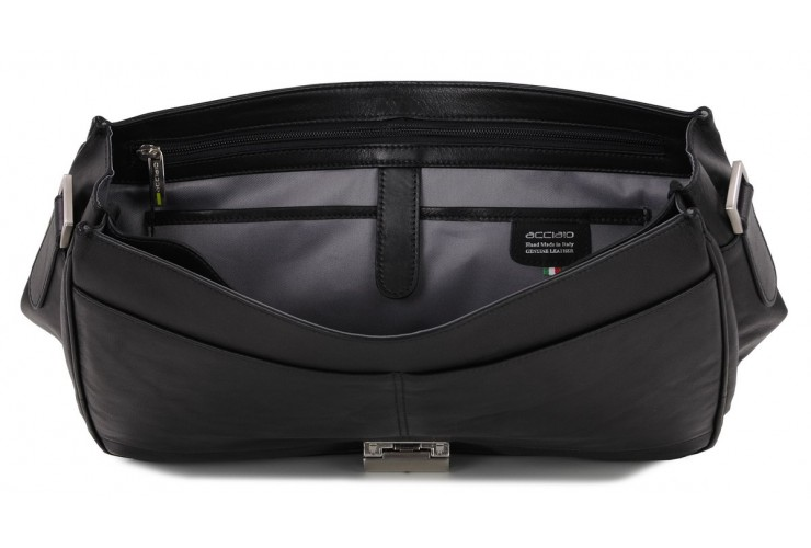 Business leather bag 15'' in soft leather Black