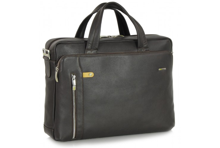Briefcase portfolio bag 14'' in leather Brown