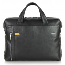 Briefcase portfolio bag 14'' in leather Black