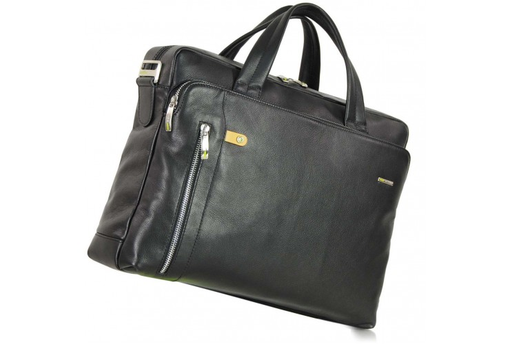 "Borsa portadocumenti due manici in pelle 14"" Nera"