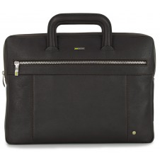 Portfolio Briefcase retractable handles leather brown/moka