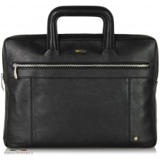Portfolio Briefcase retractable handles leather Black