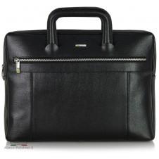 Portfolio Briefcase retractable handles leather Saffiano Black
