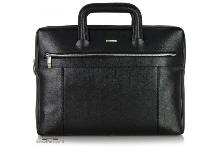 Portfolio Briefcase retractable handles leather Saffiano Black
