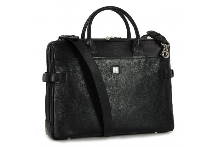 Briefcase portfolio 2 handles 15'' Elite vegetable tanned leather Black