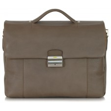 Business leather bag 15'' in soft leather Taupe/Grey
