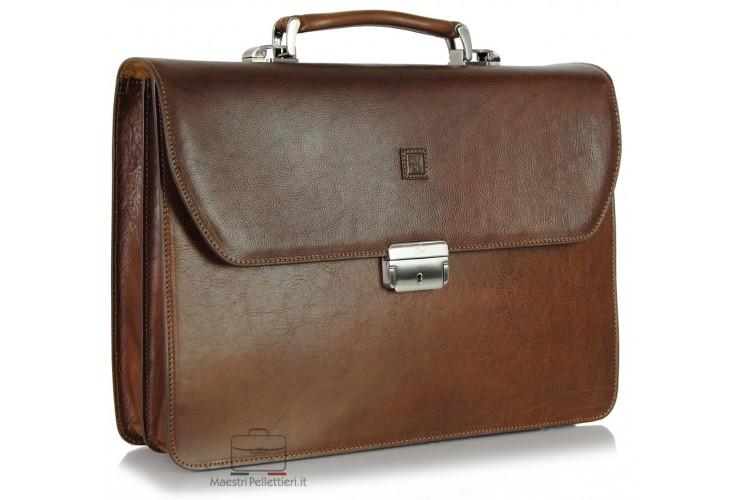 Aktentasche Classic 2-Zwickel 15' aus hochwertiges pflanzlich gegerbt leder 42cm Braun