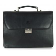 Cartella portanotebook in pelle Vacchetta Castagno tre scomparti 42cm