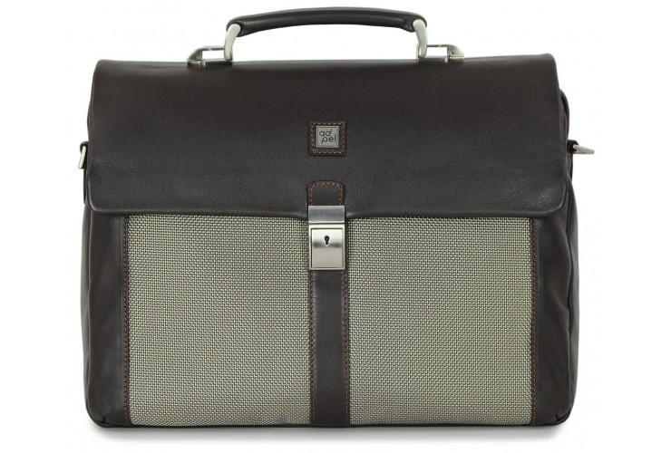 Briefcase for documents  bag in soft leather brown and fabric appliqués