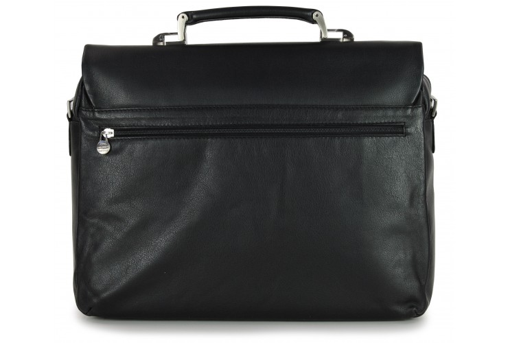 Briefcase for documents  bag in soft leather and fabric appliqués