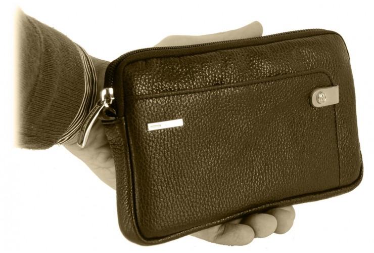 Borsello a mano piccolo Pochette uomo da polso in pelle laccio tasca-tablet 7'' Nero