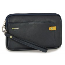 Borsello a mano piccolo Pochette uomo da polso in pelle laccio tasca-tablet 7'' Blu