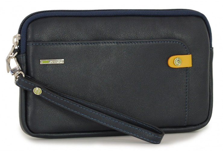 Handgelenktasche klein Herrentasche tablet-fach 7'' aus leder Blau