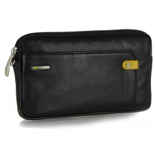 Wrist Bag man's small Pochette wristlet clutch with tablet-pocket 7'' leather Black