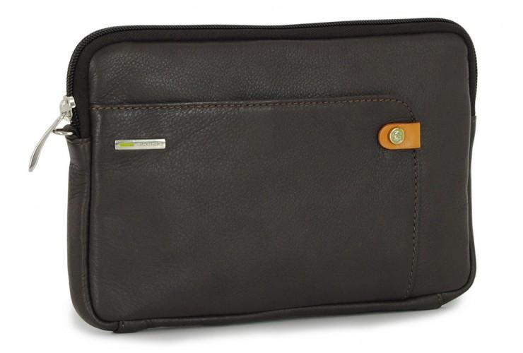 Handgelenktasche mittelgroß Herrentasche tablet-fach 8.9'' aus leder Braun/moka