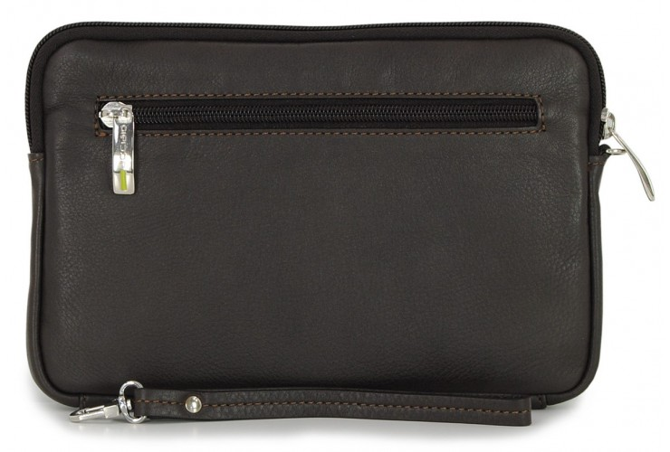 Wrist Bag man's mid-size Pochette wristlet clutch with tablet-pocket 8.9'' leather Brown/moka