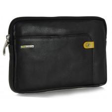 Wrist Bag man's mid-size Pochette wristlet clutch with tablet-pocket 8.9'' leather Black