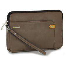 Wrist Bag man's mid-size Pochette wristlet clutch with tablet-pocket 8.9'' leather Gray/taupe