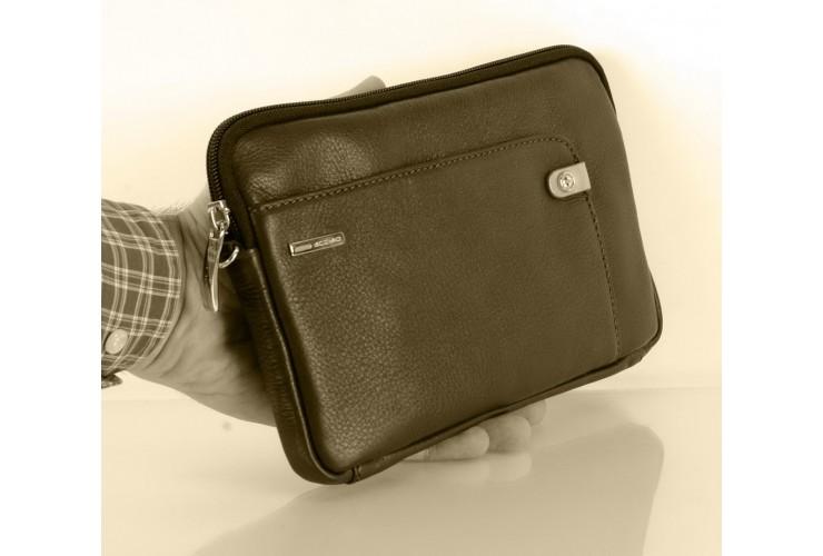 Borsello a mano medio Pochette uomo da polso in pelle laccio tasca-tablet 8.9'' Marrone/moka