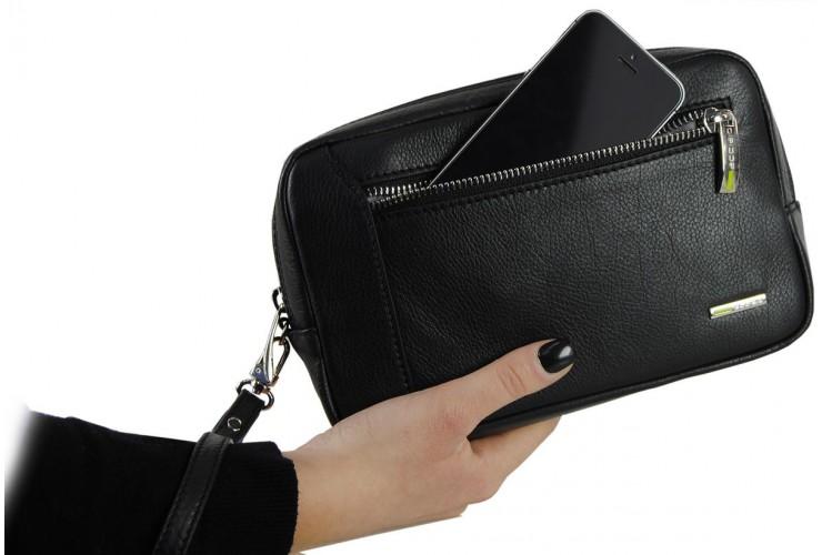 Borsello a mano uomo Pochette in pelle laccio tasca-tablet 7'' Nero
