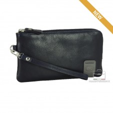 Wrist Bag leather Pochette wristlet clutch with tablet-pocket 7'' Blue