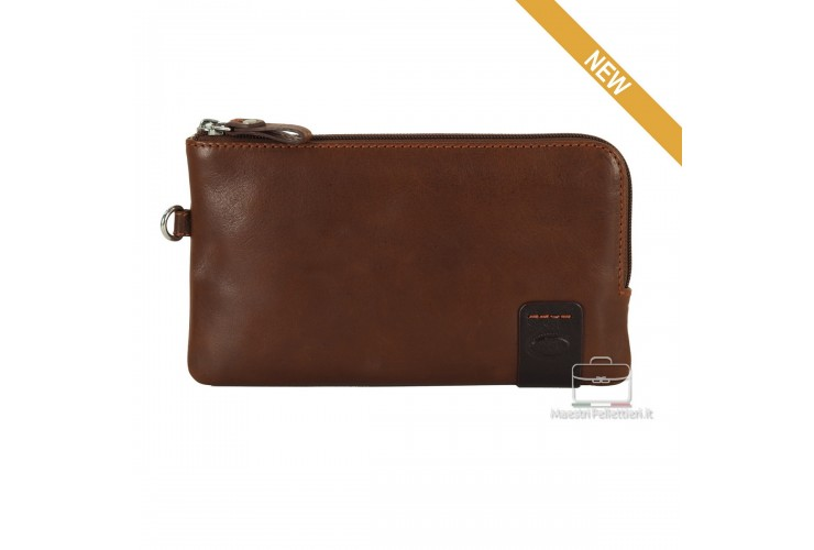 Wrist Bag leather Pochette wristlet clutch with tablet-pocket 7'' Brown