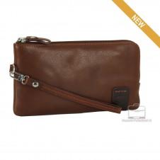 Wrist Bag leather Pochette wristlet clutch with tablet-pocket 7'' Brown