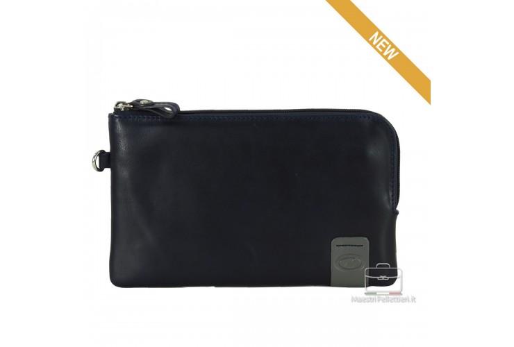 Handgelenktasche klein lederhandtasche tablet-fach 9'' aus leder Blau