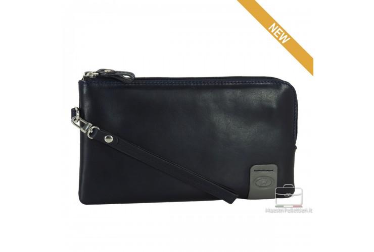 Wrist Bag leather Pochette wristlet clutch with tablet-pocket 9'' Blue