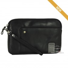 Wrist Bag man's mid-size Pochette  leather Black - RICHARD