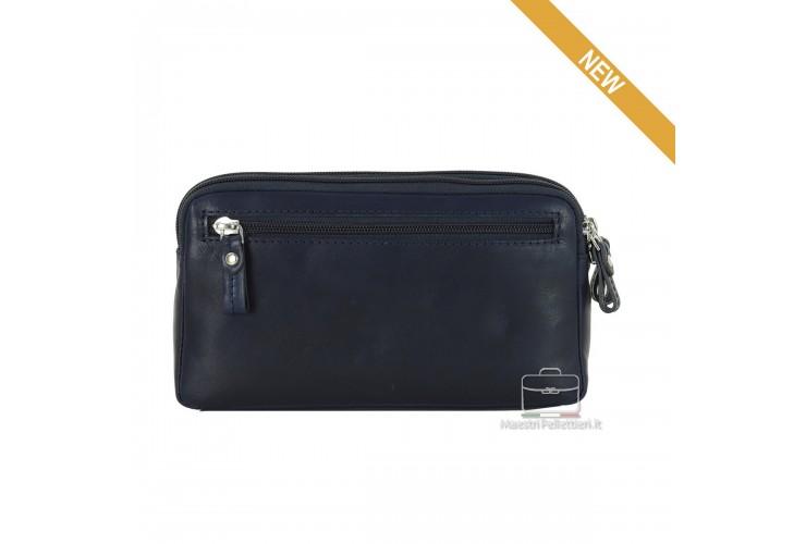 Wrist Bag leather double zip with tablet-pocket 7'' Blue OLIVER
