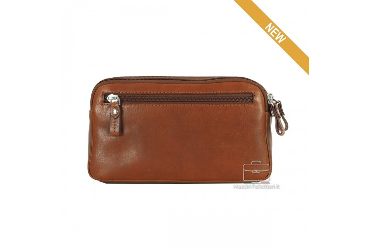 Wrist Bag leather double zip with tablet-pocket 7'' Brown OLIVER