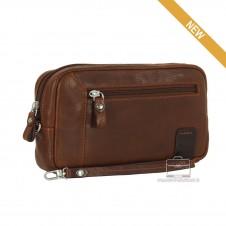 Wrist Bag leather wristlet clutch with tablet-pocket 8'' Brown GEORGE