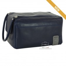 Necessarie carrier traveling , in blue leather - WILLIAM
