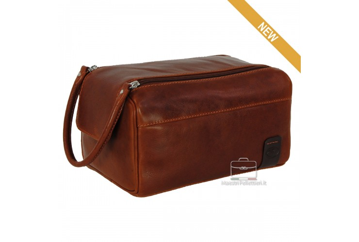 Necessarie carrier traveling , in brown leather - WILLIAM
